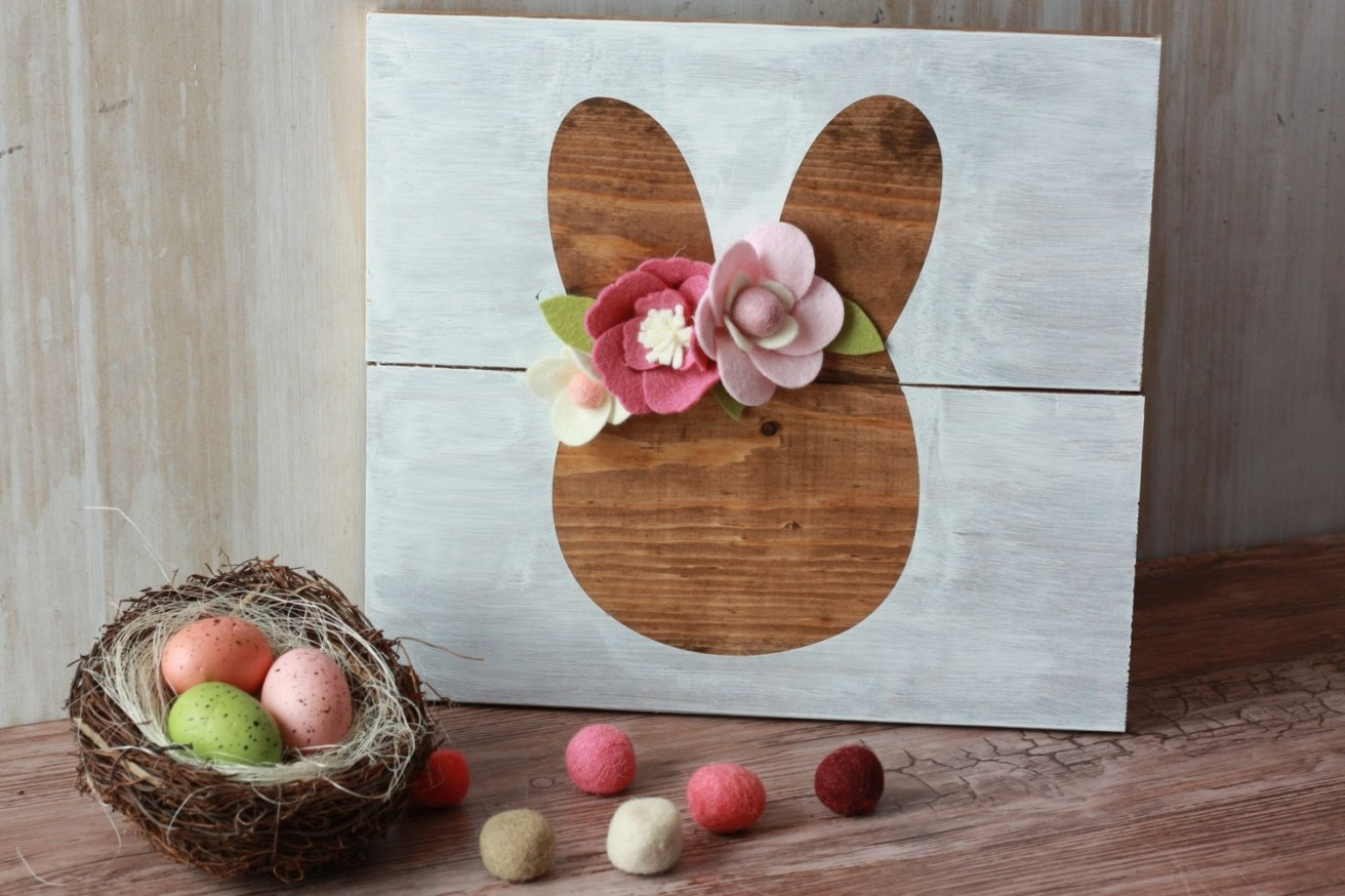 Easter Bunny Wood Sign with Felt Flowers
