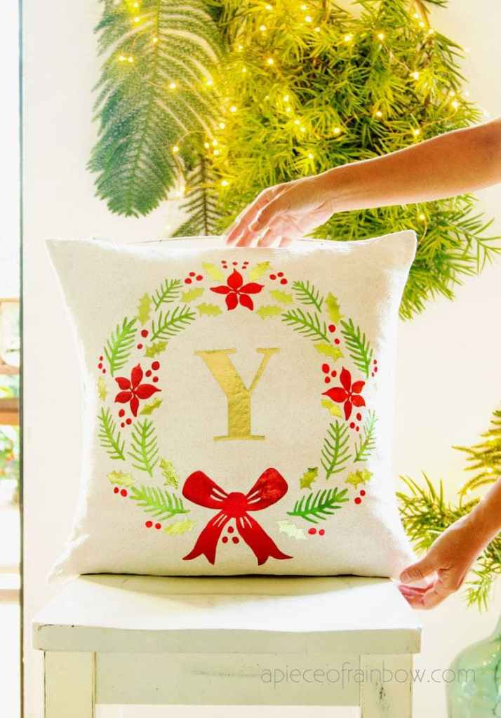 monogram wreath pillow personalized christmas gifts