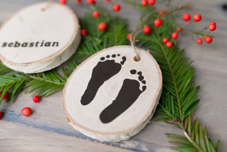 newborn footprint ornament