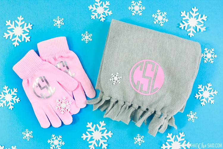 monogram scarf and mittens
