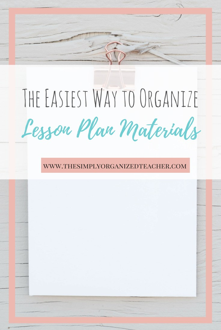 Organize lesson plan materials in plastic drawers
