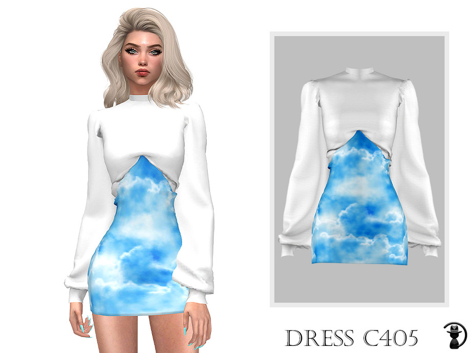 Sims 4 — Dress C405 by turksimmer — 10 Swatches Compatible with HQ mod Works with all of skins Custom Thumbnail New Mesh