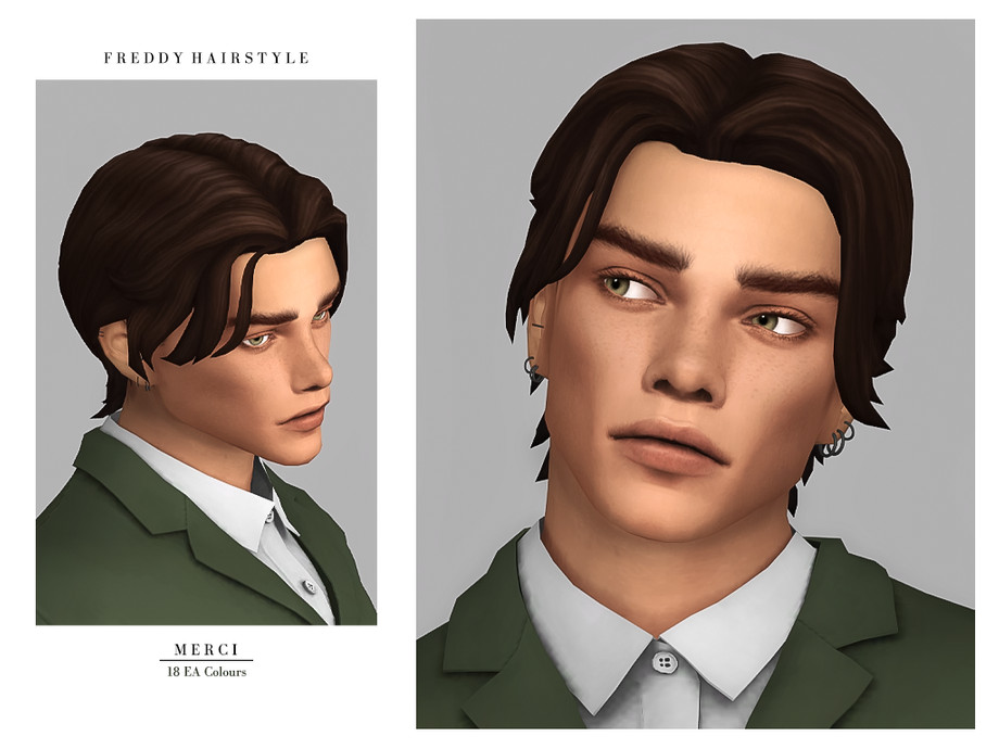 Sims 4 — Freddy Hairstyle by -Merci- — New Maxis Match Hairstyle for Sims4. -For male, teen-elder. -Base Game compatible.