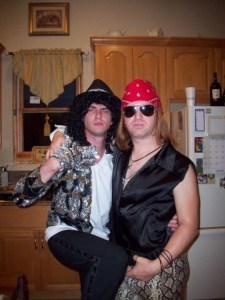 Us at one of my epic costume parties. Where else can you find Axl Rose and Michael Jackson chillin