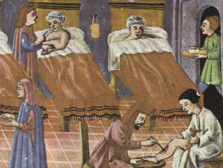 Painting of hospital in Constantinople showing patients in inclined beds