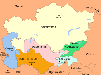 Map of Central Asian republics