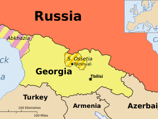 Map of Georgia, showing South Ossetia