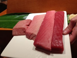 The fattiest tuna on the left (yum), to the leanest on the right.