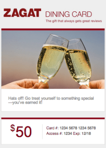 Example: Zagat Gift Card at the $50 denomination