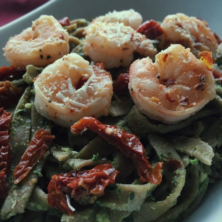 Pasta with Chobani Pesto, Spicy Shrimp & Sundried Tomatoes
