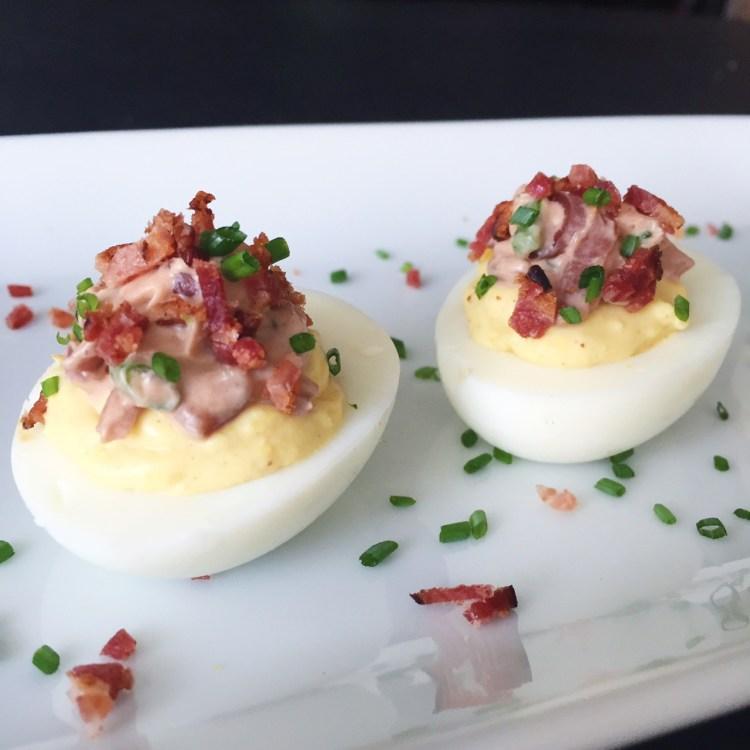 Double Decker Deviled Eggs For Dad's Day (w/Woodbridge Wine Cue Sauce)