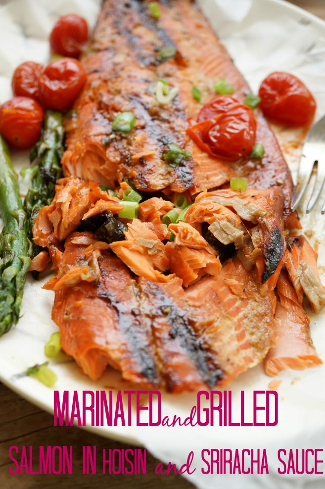 Marinated AND GRILLED SALMON IN SHIRACHA AND HOISIN SAUCE www.theskinnypot.com