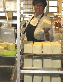 Liz, prepping mozzarella cheese for pasta