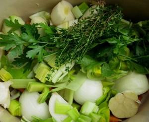 Onion, leek, garlic, thyme, parsley
