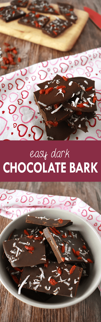 Satisfy your sweet tooth or treat your sweetie with this easy dark chocolate bark | The Small Town Foodie