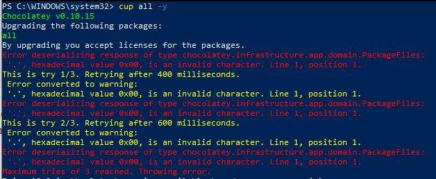 Error deserializing response of type chocolatey.infrastructure.app.domain.PackageFiles: