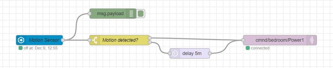 Motion sensor with delay node