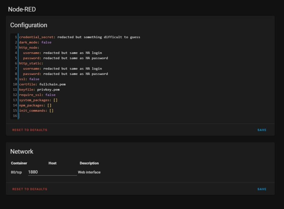 A working configuration for the Node-Red add-on
