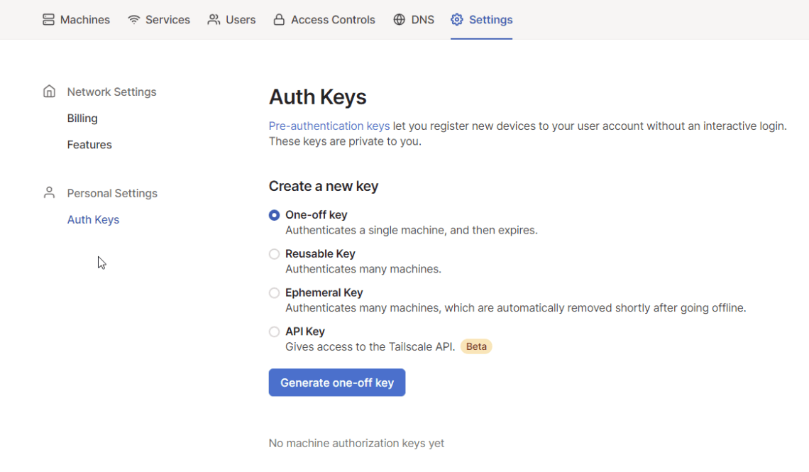 Authentication Keys for Tailscale