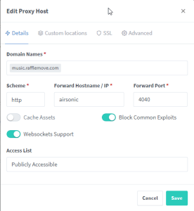 Add/Edit Proxy Host