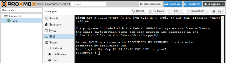 Using Shell Commands in Proxmox