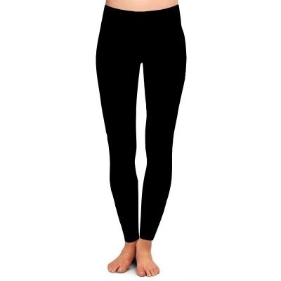 Solid Black Yoga Band Full Length Leggings