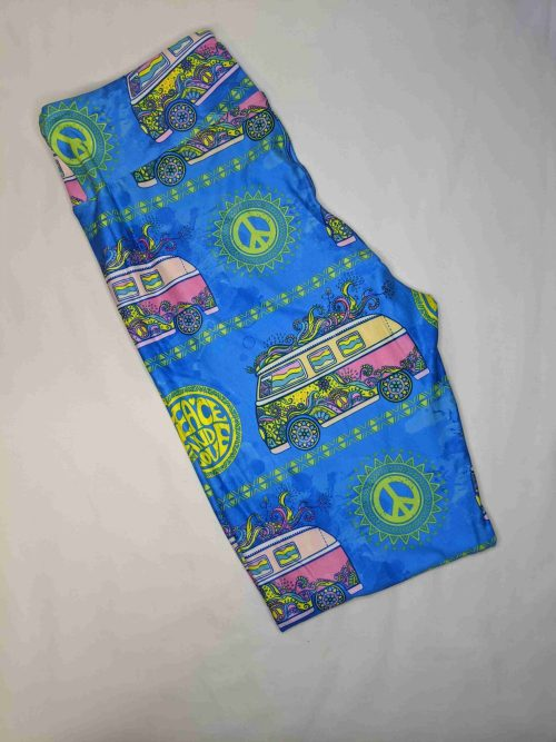 Blue Traveler Capri Length Yoga Band Printed Leggings