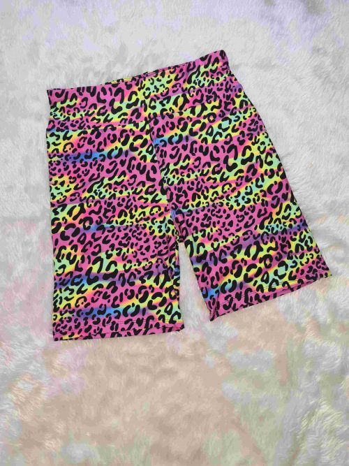 80s Cheetah Yoga Band Printed Bike Shorts