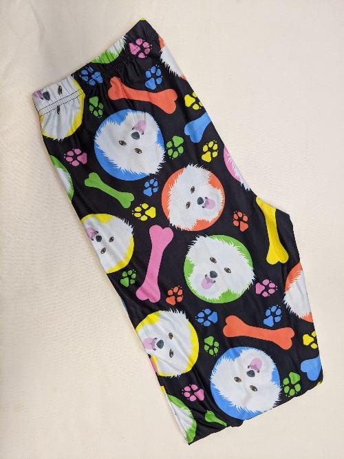 Dog Dots Capri Length Regular Band Printed Leggings