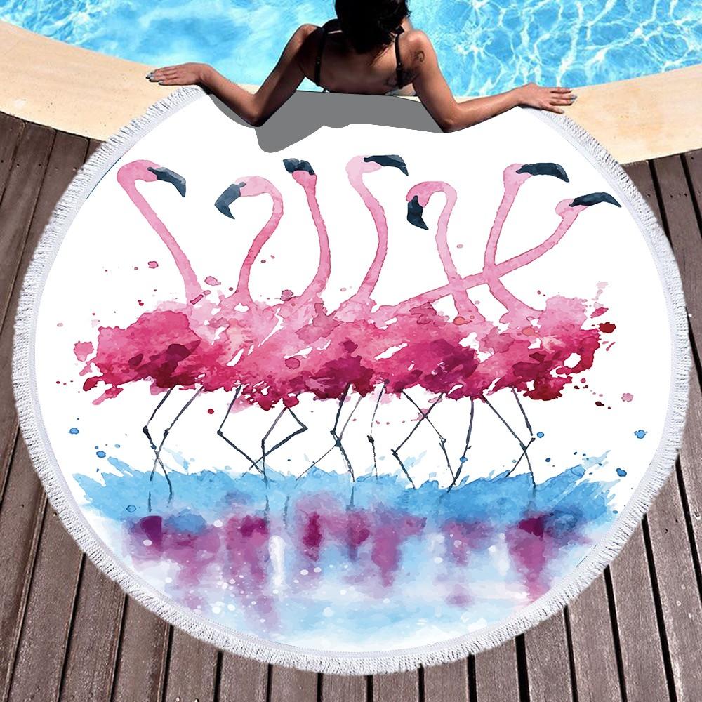 Water Flamingo Round Beach Towel