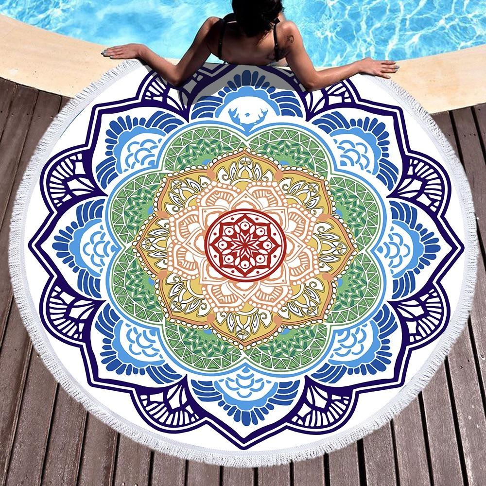 Mandala Sun Round Beach Towel