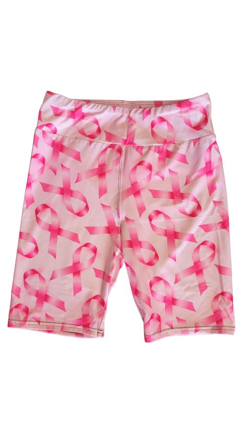 Awareness With Hot Pink Yoga Band Printed Bike Shorts