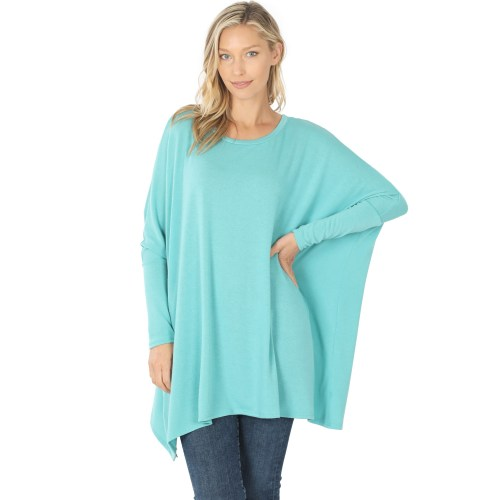 HT-2555AB Ash Mint Sweater With Round Neck.