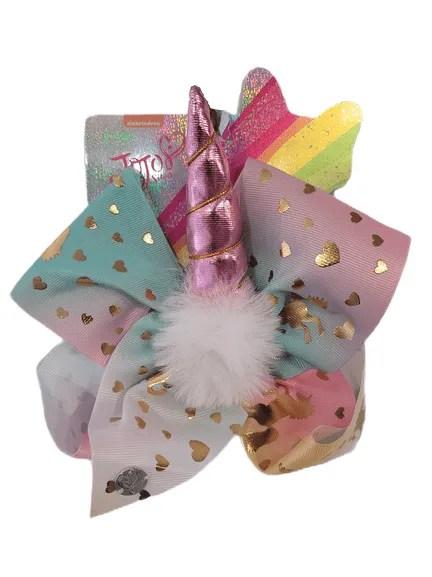 JoJo Pastel Fluff Hearts Pink Unicorn Bow