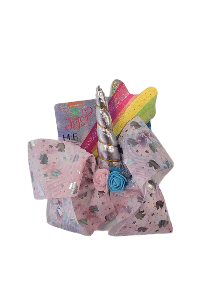 JoJo Pastel Pink Stars Silver Unicorn Bow