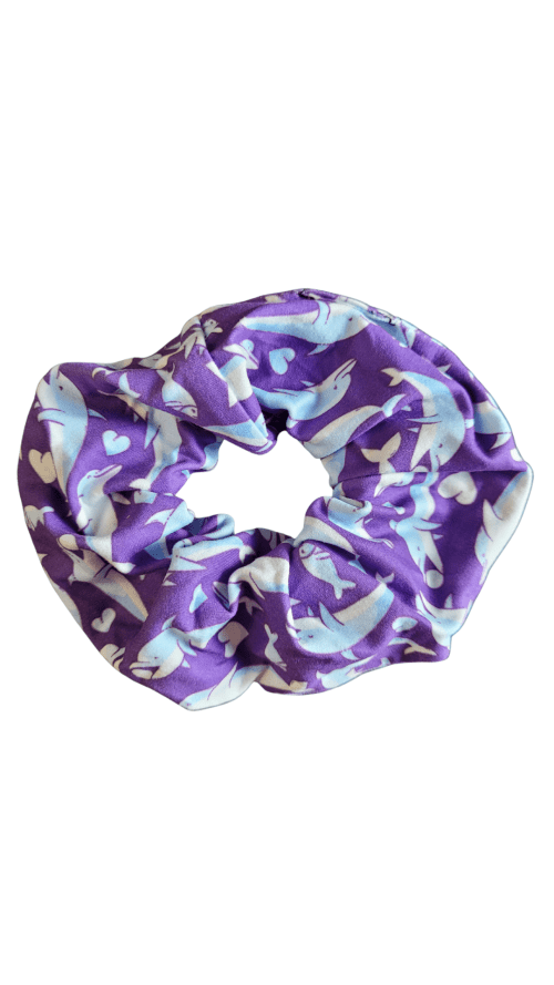 Dolphin Blue Printed Scrunchie