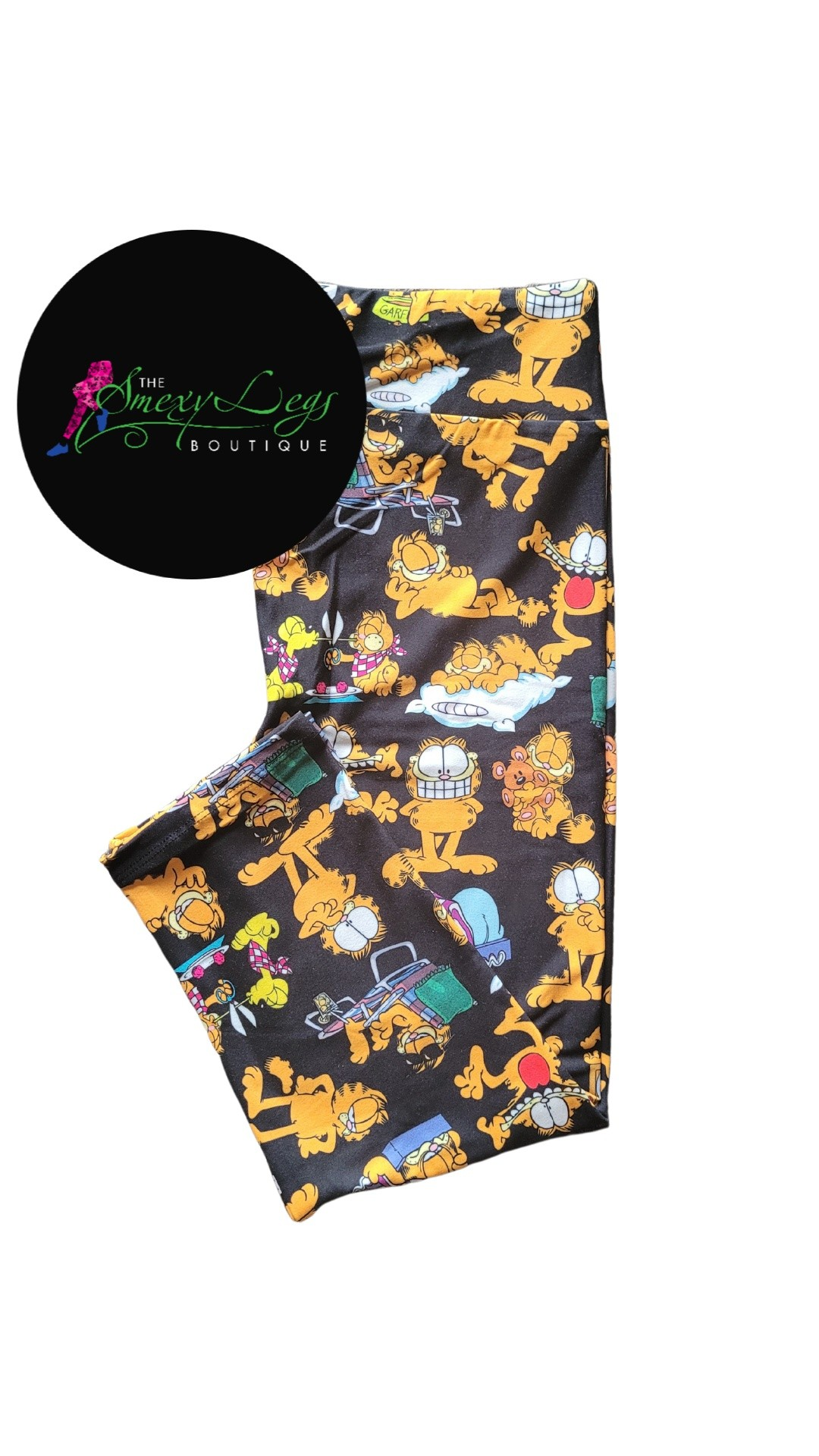 Lazy Garfield Printed Capri Length Yoga Band Leggings