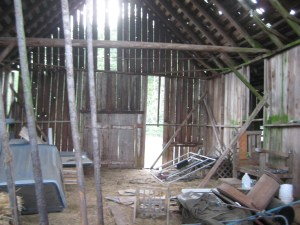 Looking East from within the barns hayloft