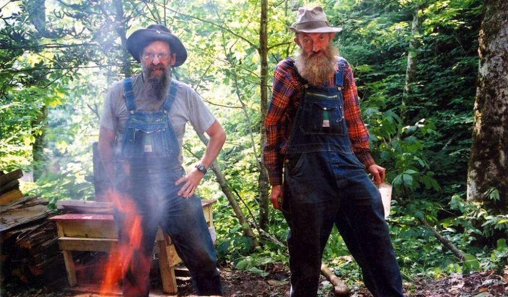 JB and Popcorn Sutton during the filming of This is the Last Dam Run of Likker I'll Ever Make by Sucker Punch Pictures (photo courtesy of Sucker Punch Pictures)