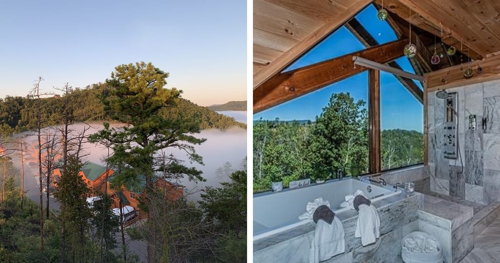 This cabin features a luxury treehouse with outdoor kitchen, exterior fireplace and heated floors (photos courtesy of VRBO)