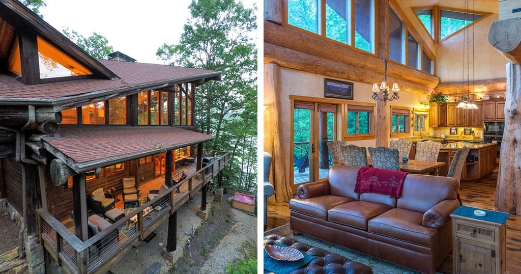 This Bryson City cabin is located on the lake (photos courtesy of VRBO)