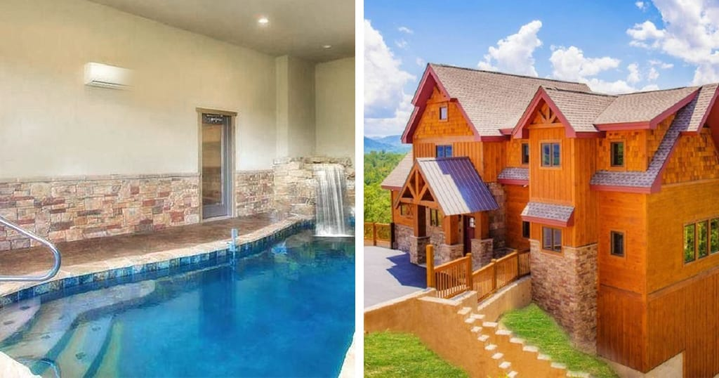 This cabin features breathtaking views, indoor pool (photos courtesy of VRBO)