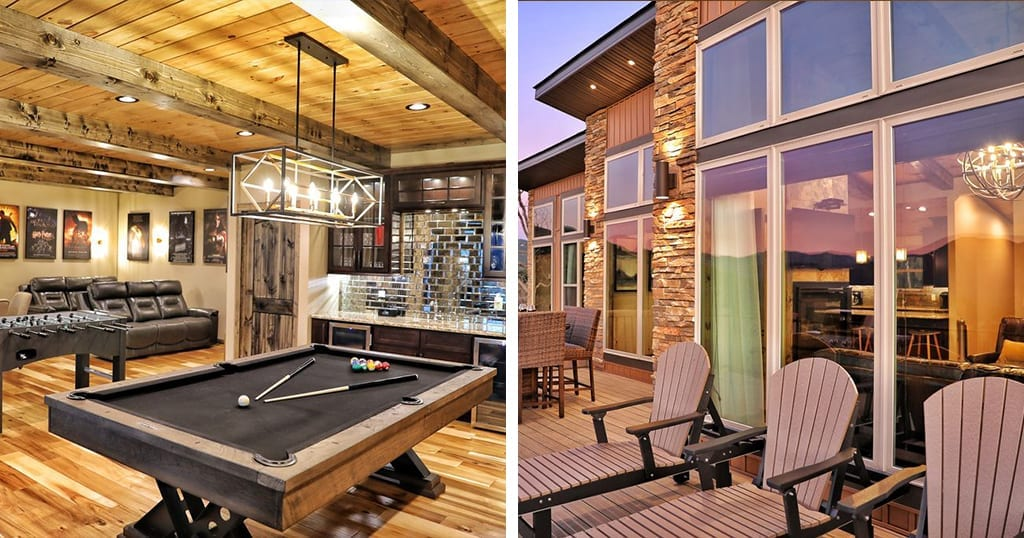 This luxury cabin features spa tubs, a fire pit and theater room (photos courtesy of VRBO)