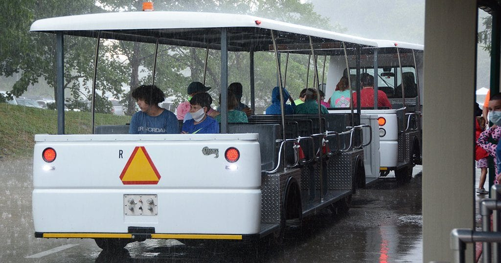 Guests riding the tram on opening day