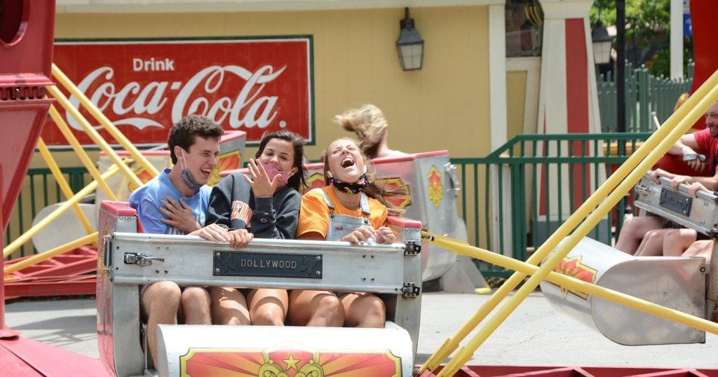 """Kids ride the """"scrambler"""" at Dollywood on opening day (photo by Daniel Munson/TheSmokies.com)"""