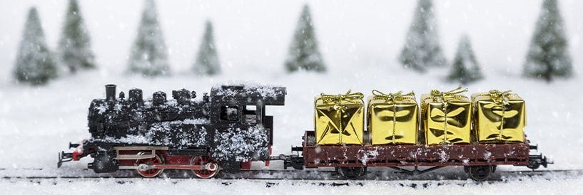 Train in Snow, With Golden Gift Boxes