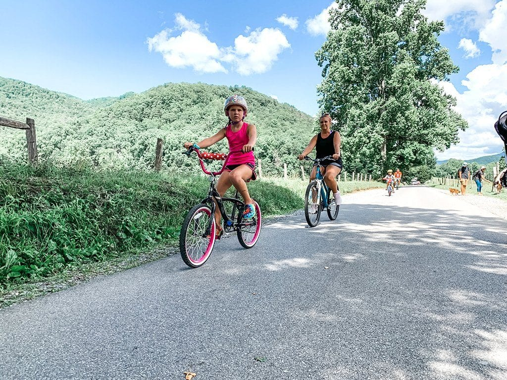 Bicycling is encouraged on the Loop on vehicle-free Wednesdays (photo by Morgan Overholt/TheSmokies.com)