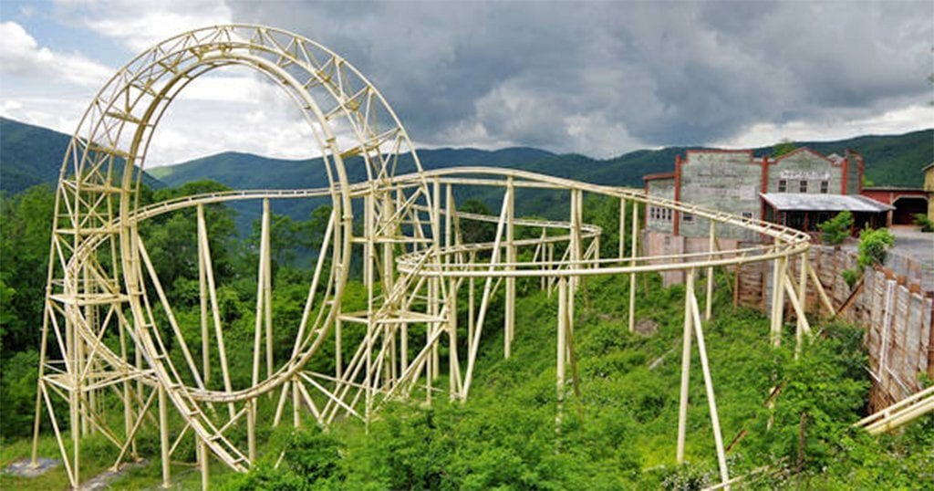 The Red Devil Cliffhanger coaster at Ghost Town in the Sky (photo courtesy of RomanticAsheville.com)