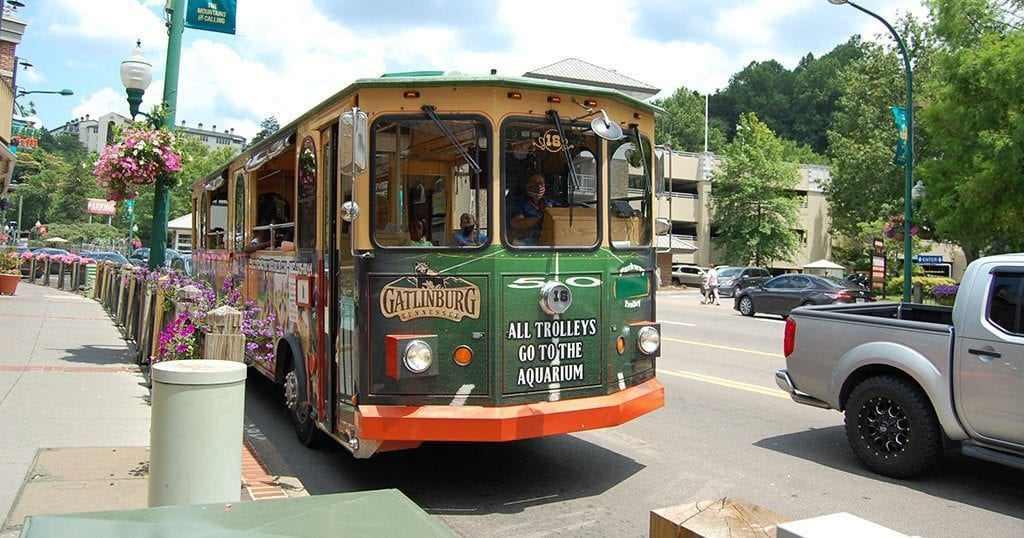If all else fails just do opt for a park and ride and take the Trolley. It isn't free, but it's cheaper than most of the paid lots (photo by Morgan Overholt/TheSmokies.com)
