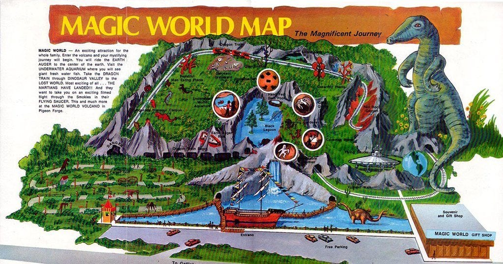 An old map of the park from a Magic World Brochure
